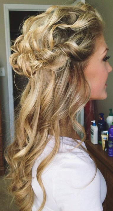 26 Stunning Half Up, Half Down Hairstyles | Stayglam With Most Popular Softly Pulled Back Braid Hairstyles (View 20 of 25)