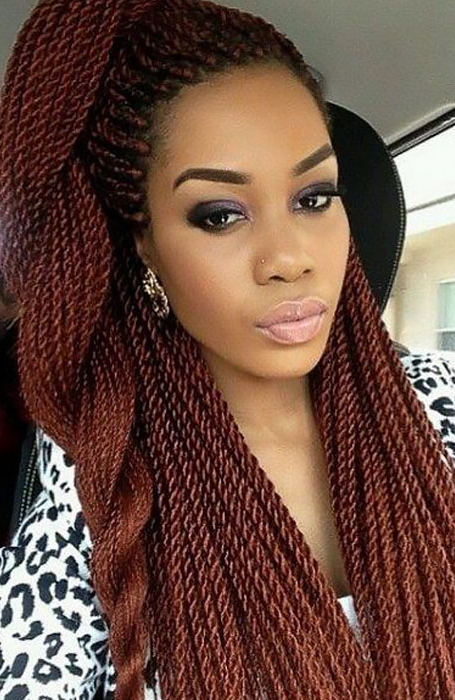 27 Chic Senegalese Twist Hairstyles For Women – The Trend With Most Popular Black Twists Micro Braids With Golden Highlights (View 21 of 25)