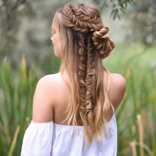 27 Prettiest Half Up Half Down Prom Hairstyles For 2019 Pertaining To Latest Half Up Half Down Boho Braided Hairstyles (View 23 of 25)