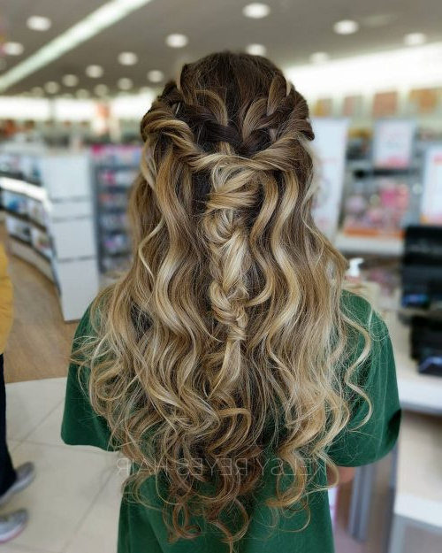 27 Prettiest Half Up Half Down Prom Hairstyles For 2019 With Most Up To Date Half Up Half Down Boho Braided Hairstyles (View 13 of 25)