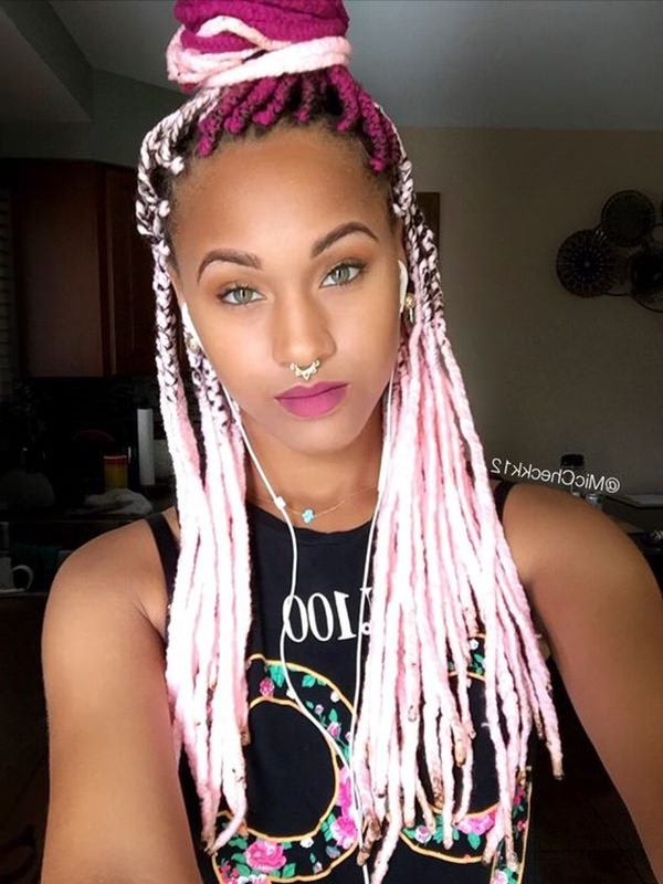 28 Yarn Braids Styles That You Will Absolutely Love – Style Regarding Current Long Braids With Blue And Pink Yarn (View 4 of 25)