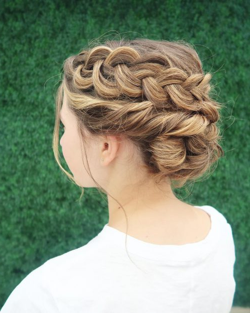 29 Gorgeous Braided Updo Ideas For 2019 For Most Up To Date Messy Crown Braid Updo Hairstyles (View 16 of 25)