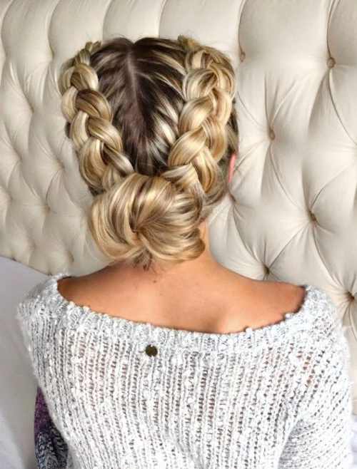 29 Gorgeous Braided Updo Ideas For 2019 Throughout Newest Blonde Asymmetrical Pigtails Braid Hairstyles (View 18 of 25)