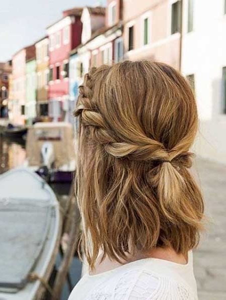 30 Beautiful Braided Hairstyles With Half In Half » Best And Throughout Most Popular Rolled Half Updo Bob Braid Hairstyles (View 5 of 25)