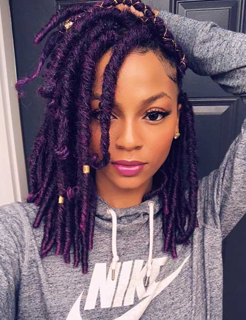 30 Best Hair Color Ideas For Black Women In 2018 Blue Sunset Skinny Braided Hairstyles (View 23 of 25)