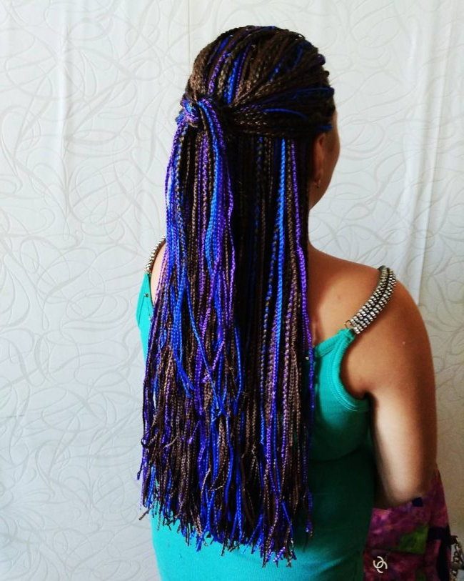 30 Cool Yarn Braids Styles — Protection And Perfection Intended For 2018 Long Braids With Blue And Pink Yarn (View 15 of 25)