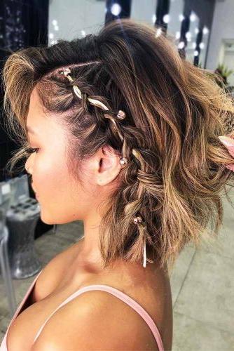 30 Cute Braided Hairstyles For Short Hair | Lovehairstyles Regarding Newest Purple Pixies Bob Braid Hairstyles (View 11 of 25)