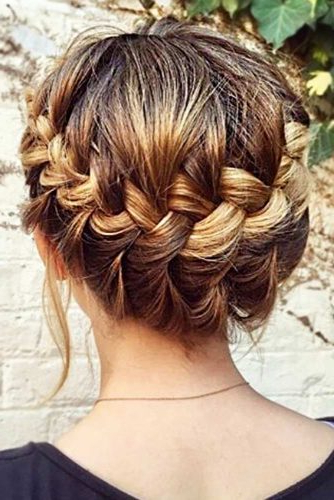 30 Cute Braided Hairstyles For Short Hair | Lovehairstyles With Regard To Latest Brown Woven Updo Braid Hairstyles (View 4 of 25)