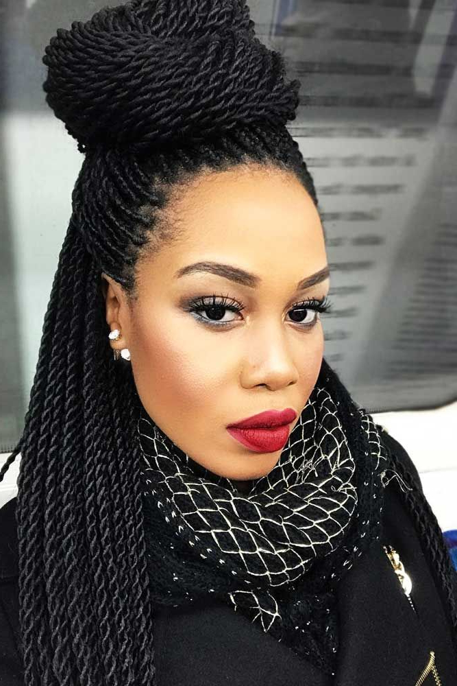 30 Fabulous Ideas To Rock Micro Braids And Look Different Throughout Most Current High Half Up Bun Invisible Braids (View 3 of 25)