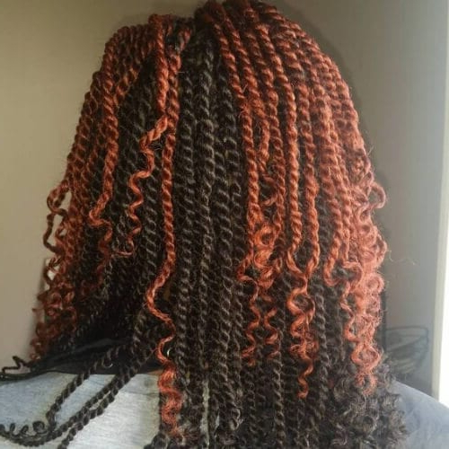 30 Kinky Twist Hairstyles To Get That Irresistible Look In Newest Black Twists Hairstyles With Red And Yellow Peekaboos (View 13 of 25)