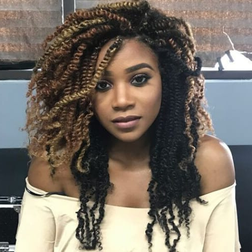 Featured Photo of Black Twists Hairstyles With Red And Yellow Peekaboos
