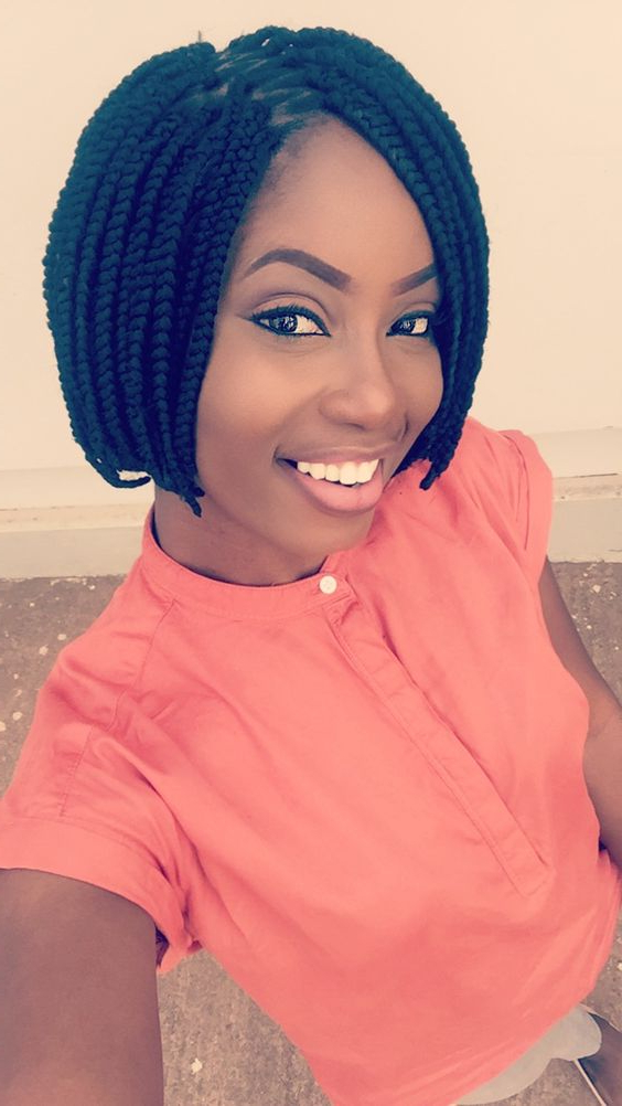30 Short Box Braids Hairstyles For Chic Protective Looks In Newest Short And Chic Bob Braid Hairstyles (View 4 of 25)