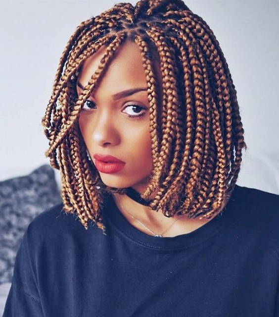 30 Short Box Braids Hairstyles For Chic Protective Looks Inside Recent Bob Braid Hairstyles With Bangs (View 20 of 25)