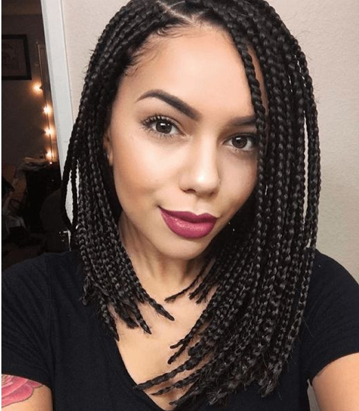 30 Short Box Braids Hairstyles For Chic Protective Looks Within Current Short And Chic Bob Braid Hairstyles (View 16 of 25)