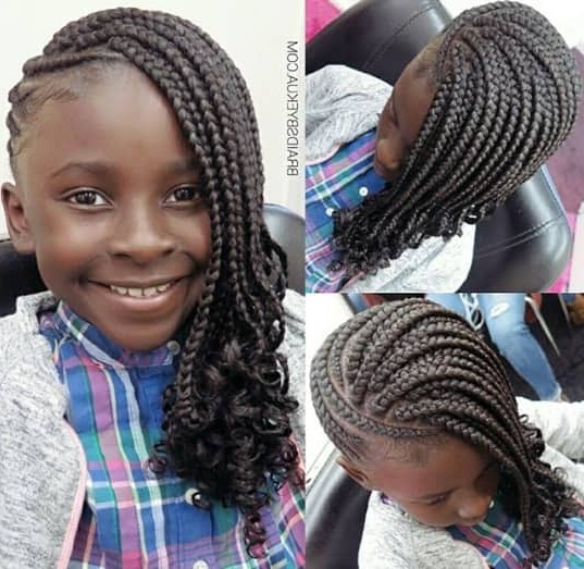 31 Box Braids For Kids 2019, Perfect Styles With Detailed In Current Stylishly Swept Back Braid Hairstyles (View 12 of 25)