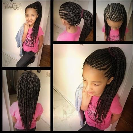31 Box Braids For Kids 2019, Perfect Styles With Detailed In Most Recent Side Pony And Raised Under Braid Hairstyles (View 8 of 25)