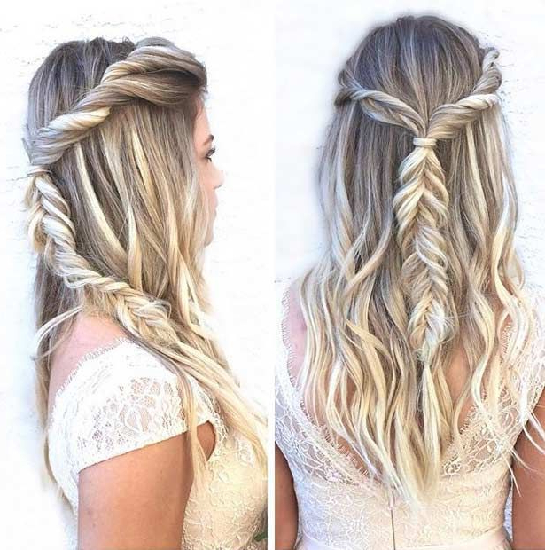 31 Half Up, Half Down Prom Hairstyles   Stayglam Hairstyles With Most Recent Double Half Up Mermaid Braid Hairstyles (View 4 of 25)