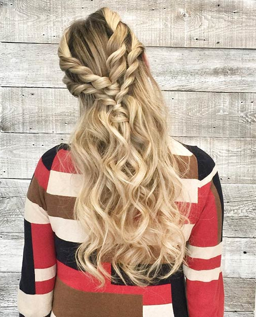 31 Half Up, Half Down Prom Hairstyles   Stayglam In Best And Newest Partial Updo Rope Braids With Small Twists (View 23 of 25)