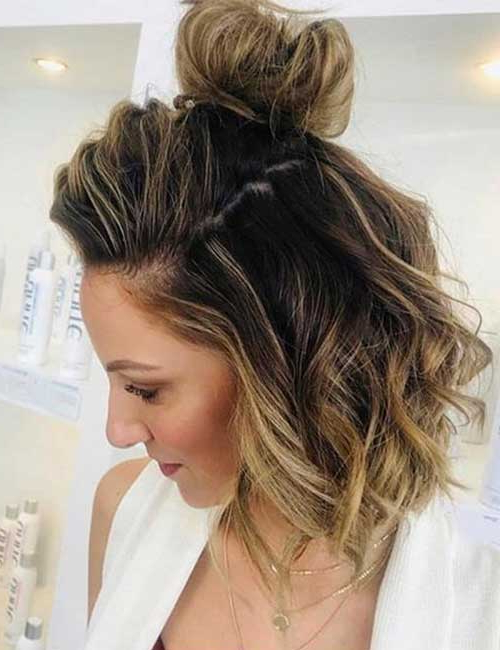 31 Incredible Half Up Half Down Prom Hairstyles Within Most Recent Half Up Top Knot Braid Hairstyles (View 16 of 25)