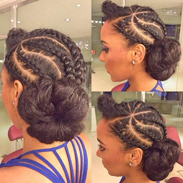 31 Stylish Ways To Rock Cornrows | Stayglam Inside Most Popular Thick Cornrows Bun Hairstyles (View 13 of 25)