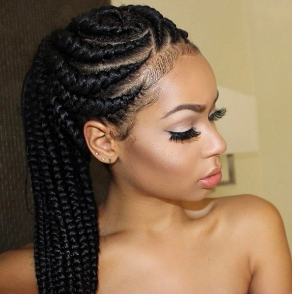 32 Perfect Goddess Braids Hairstyles 2018 [Updated + Video] For Newest Ponytail Braid Hairstyles With Thin And Thick Cornrows (View 16 of 25)
