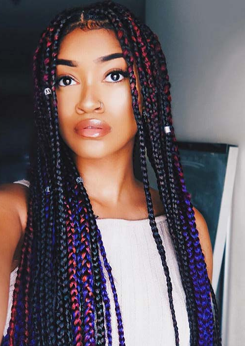 35 Awesome Box Braids Hairstyles You Simply Must Try For Most Popular Skinny Braid Hairstyles With Purple Ends (View 2 of 25)