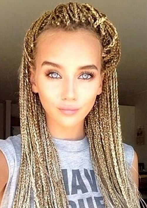 35 Awesome Box Braids Hairstyles You Simply Must Try For Most Up To Date Golden Blonde Tiny Braid Hairstyles (View 2 of 25)
