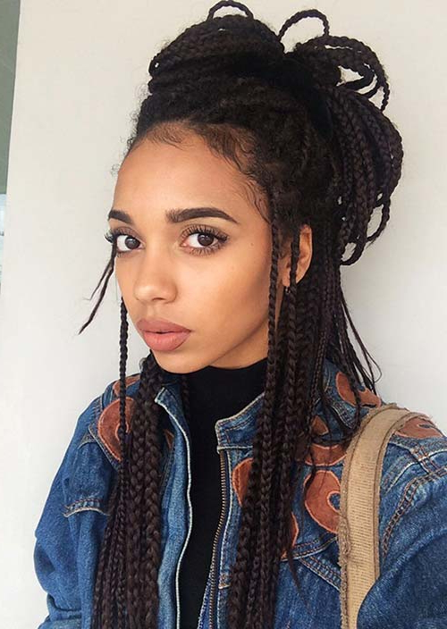 35 Awesome Box Braids Hairstyles You Simply Must Try Intended For Current Half Up Buns Yarn Braid Hairstyles (View 10 of 25)