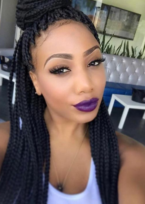 35 Awesome Box Braids Hairstyles You Simply Must Try Intended For Most Recently Half Up Buns Yarn Braid Hairstyles (View 4 of 25)