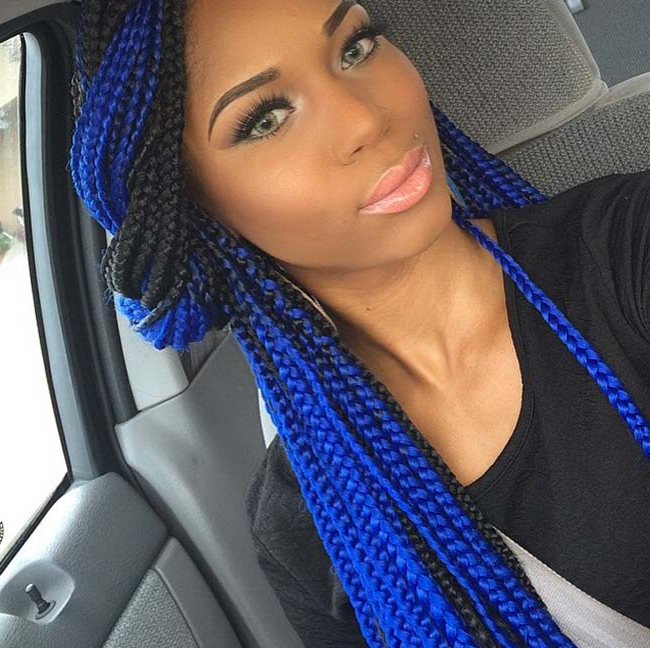 35 Awesome Box Braids Hairstyles You Simply Must Try Intended For Recent Blue And White Yarn Hairstyles (View 17 of 25)