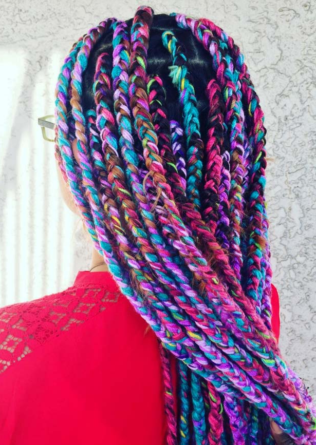 35 Awesome Box Braids Hairstyles You Simply Must Try Regarding Newest Long Braids With Blue And Pink Yarn (View 18 of 25)