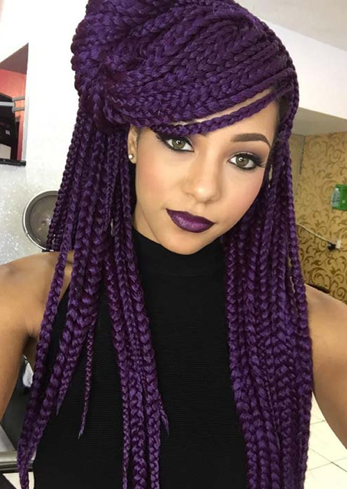 35 Awesome Box Braids Hairstyles You Simply Must Try Within Newest Skinny Braid Hairstyles With Purple Ends (View 6 of 25)