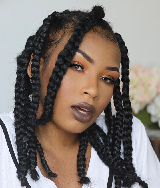 35 Bombass Ways To Style Your Bodacious Box Braids In Best And Newest Funky Sock Bun Micro Braid Hairstyles (View 8 of 25)