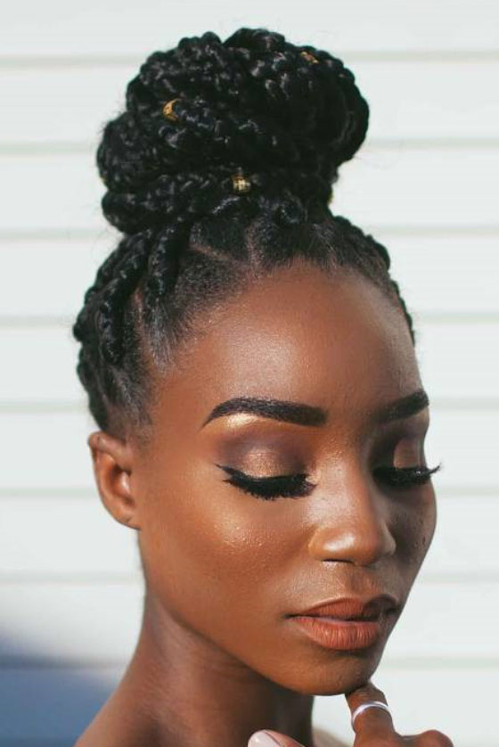35 Bombass Ways To Style Your Bodacious Box Braids Throughout Best And Newest Funky Sock Bun Micro Braid Hairstyles (View 4 of 25)