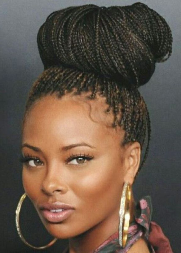35 Micro Braids Hairstyles For African American Women In Newest Natural Protective Bun Micro Braid Hairstyles (View 6 of 25)