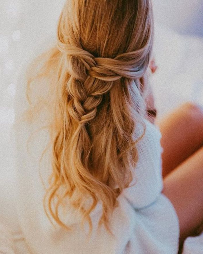 37 Beautiful Half Up Half Down Hairstyles For The Modern Intended For Recent Pretty Pinned Back Half Updo Braids (View 17 of 25)