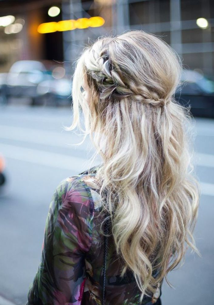 37 Beautiful Half Up Half Down Hairstyles For The Modern Intended For Recent Pretty Pinned Back Half Updo Braids (View 12 of 25)