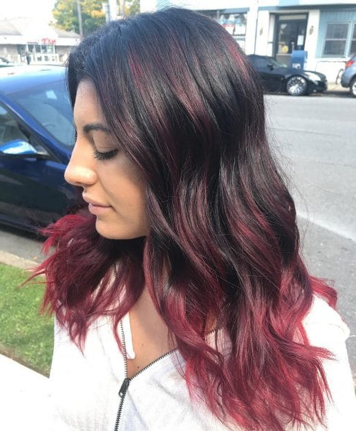 37 Best Red Highlights In 2019 For Brown, Blonde & Black Hair With Regard To Best And Newest Black Twists Hairstyles With Red And Yellow Peekaboos (View 25 of 25)
