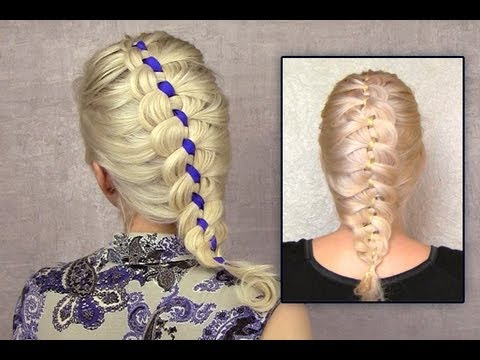 4 Strand French Braid Tutorial On Yourself Ribbon Braid Hairstyle For Short Medium Long Hair How To throughout Newest Loose 4-Strand Rope Braid Hairstyles