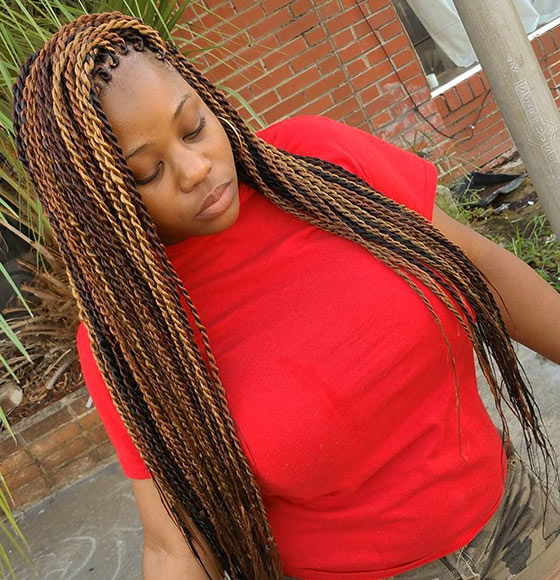 40 Awe-Inspiring Ways To Style Your Crochet Braids pertaining to Current Red And Brown Micro Braid Hairstyles