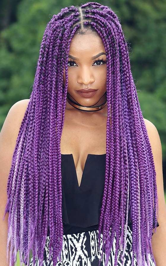 40 Awe Inspiring Ways To Style Your Crochet Braids Within Most Recent Skinny Braid Hairstyles With Purple Ends (View 12 of 25)