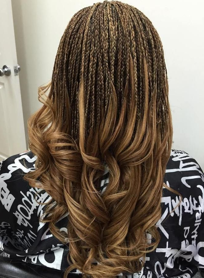 40 Ideas Of Micro Braids And Invisible Braids Hairstyles In for Latest Highlighted Invisible Braids With Undone Ends