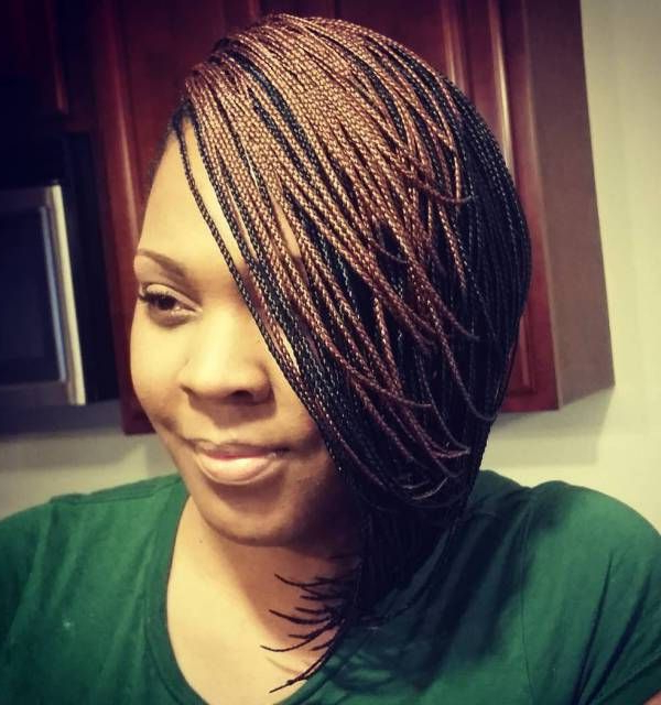 40 Ideas Of Micro Braids And Invisible Braids Hairstyles inside Best and Newest Short Stacked Bob Micro Braids
