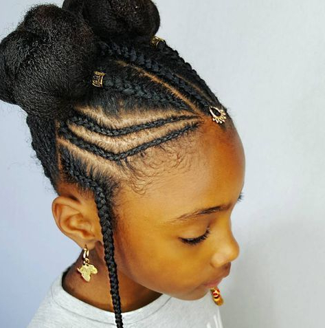 40 Pretty Fun And Funky Braids Hairstyles For Kids   Easy within Most Popular Funky Sock Bun Micro Braid Hairstyles