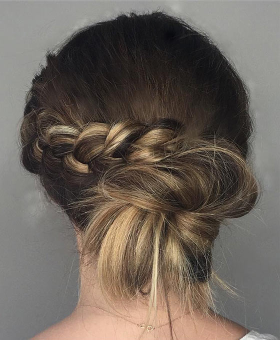 40 Quick And Easy Updos For Medium Hair intended for Most Popular Funky Sock Bun Micro Braid Hairstyles