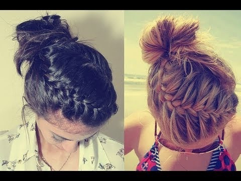 40 Quick And Easy Updos For Medium Hair pertaining to Latest Funky Sock Bun Micro Braid Hairstyles