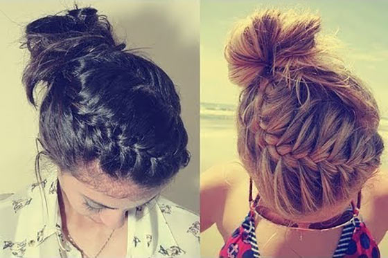 40 Quick And Easy Updos For Medium Hair with regard to Best and Newest Funky Sock Bun Micro Braid Hairstyles