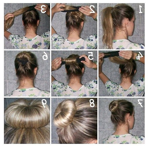 40 Quick And Easy Updos For Medium Hair within Current Funky Sock Bun Micro Braid Hairstyles