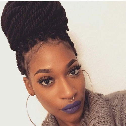 40 Senegalese Twist Hairstyles For Black Women | Herinterest within Most Current Dramatic Rope Twisted Braid Hairstyles