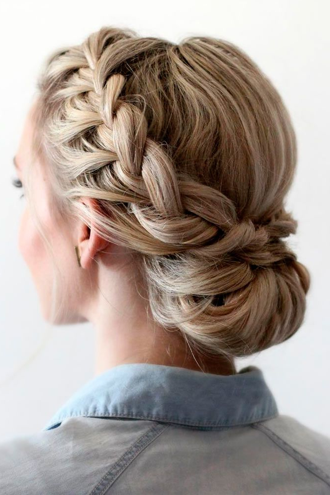 42 Braided Prom Hair Updos To Finish Your Fab Look | Prom Pertaining To Most Current Brown Woven Updo Braid Hairstyles (View 2 of 25)